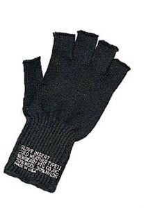 Black G.I. Military Fingerless Wool Gloves MADE IN USA 8411 Rothco ... ceb7f32e1d4