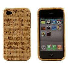 iPhone 4 4S Genuine Bamboo Engraved Mozart Music Note Natural Wood Case Cover