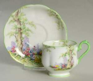 Royal-Albert-GREENWOOD-TREE-Cup-amp-Saucer-5939086