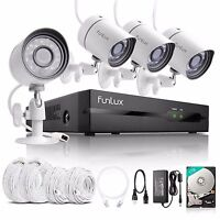 Funlux 1080p 4CH NVR 1.0MP Outdoor IP Network Security Camera System with 1TB HDD
