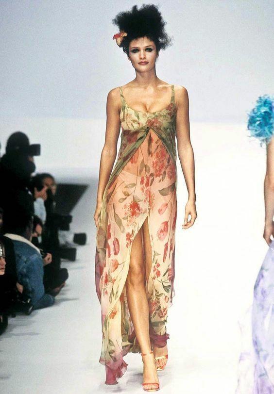 VALENTINO Vintage SS1997 Runway Tulip Print Long … - image 2