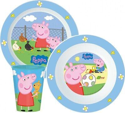 Peppa Pig Wutz Frühstücksset Kinder Geschirr SET Becher+Schale+Teller