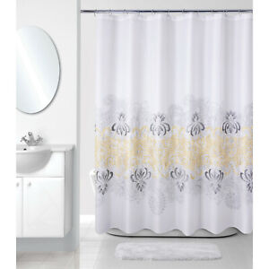 Yellow Gray Shower Curtain Embroidered Textured Paisley Fabric Ebay
