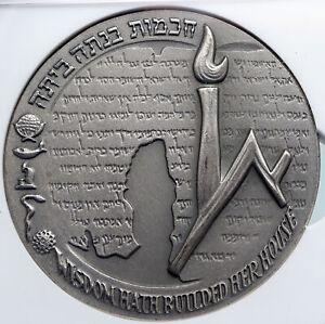 1965 ISRAEL Vintage HEBREW UNIVERSITY of JERUSALEM Old Silver Medal NGC i89343