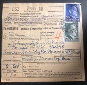 1944 Słomniki Germany To KZ Flossenbürg Concentration Parcel Receipt Cover