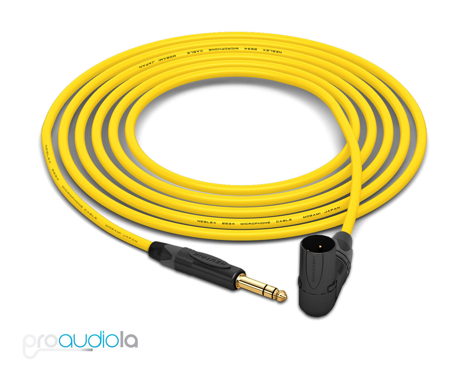 Mogami 2534 Quad Cable   Neutrik guld TRS to 90º XLR-Male   Gelb 25 Feet 25'