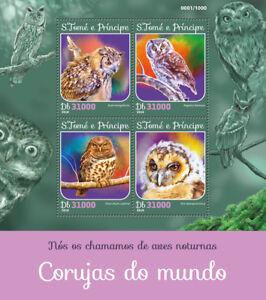 Sao-Tome-amp-Principe-2016-MNH-Owls-Brown-Wood-Boreal-Owl-4v-M-S-Birds-Stamps