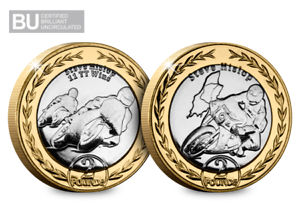 Contemplatif 2019 Isle Of Man Tt Steve Hislop £ 2 Coin Duo-afficher Le Titre D'origine