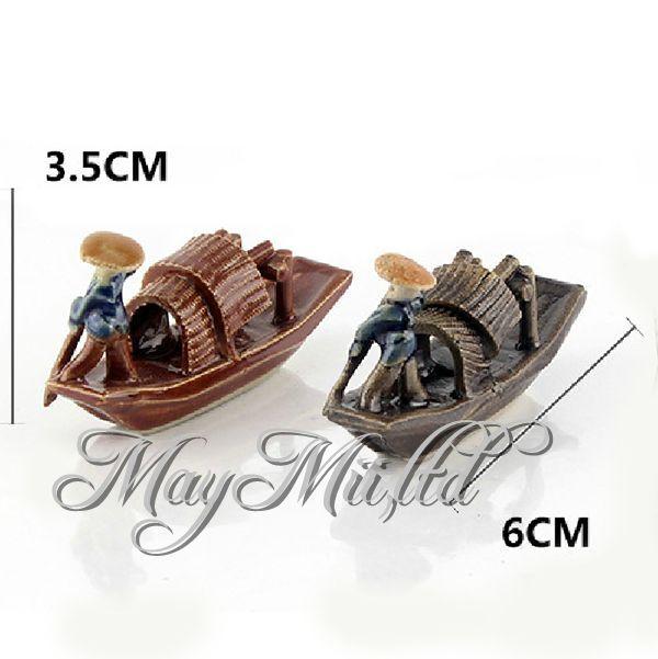 Manmade Ceramic Fish Tank Decoration Landscape Boat Design Aquarium Ornament E