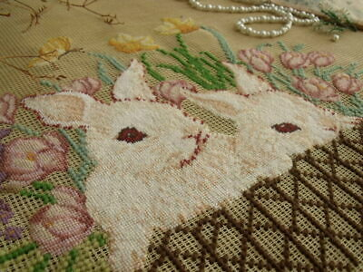 "Vtg 18/"" PREWORKED Needlepoint Canvas PetitPoint Brown-BEAR~KITTEN~PUPPY Pet CUTE"