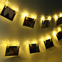 10/20 Led Photo Clip String Light Warm White For Bedroom Wedding Party Decor