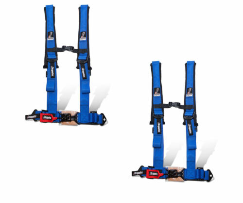 """Dragonfire Racing Blue Pair H-Style 4 Point 2/"""" Seat Belt Harnesses Universal"""