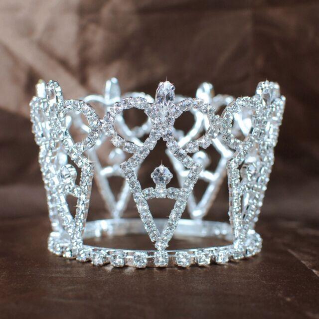 Mini Round Crowns Rhinestones Crystal Tiaras Bridal Wedding Diadem Party Prom