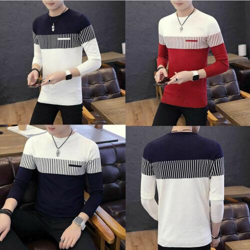 Tops Men/'s Coat Casual Round Knitwear Warm Pullover Neck Jumper Sweater Strip