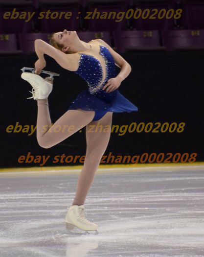 Ice skating dress.Dark bluee Twirling Dance Competition Figure Skating Dress
