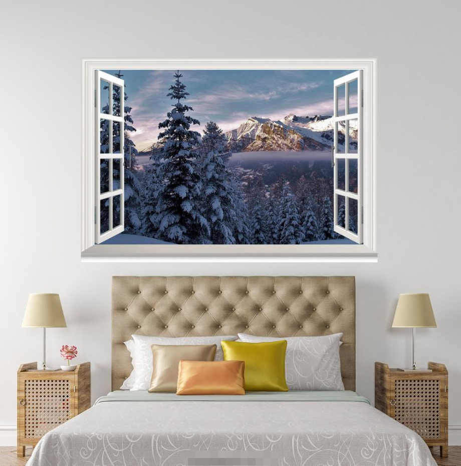 3D Mountain Forest 9 Open Windows WallPaper Murals Wall Print Decal Deco AJ WALL