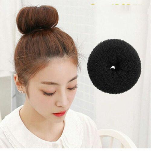 Women Hair Styling Donut Bun Maker Fashion Ring Style Bun Scrunchy Tool Black