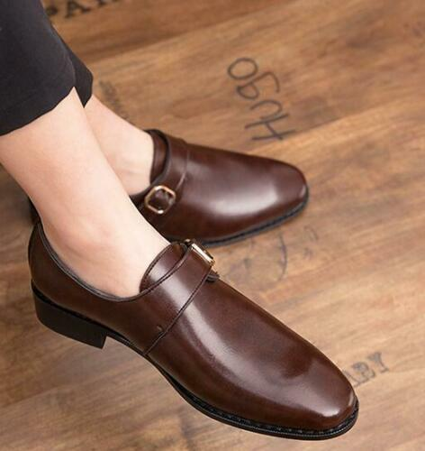 Mens Dress Formal Oxfords Buckle Pointy Toe Leather Business Wedding Work Shoes