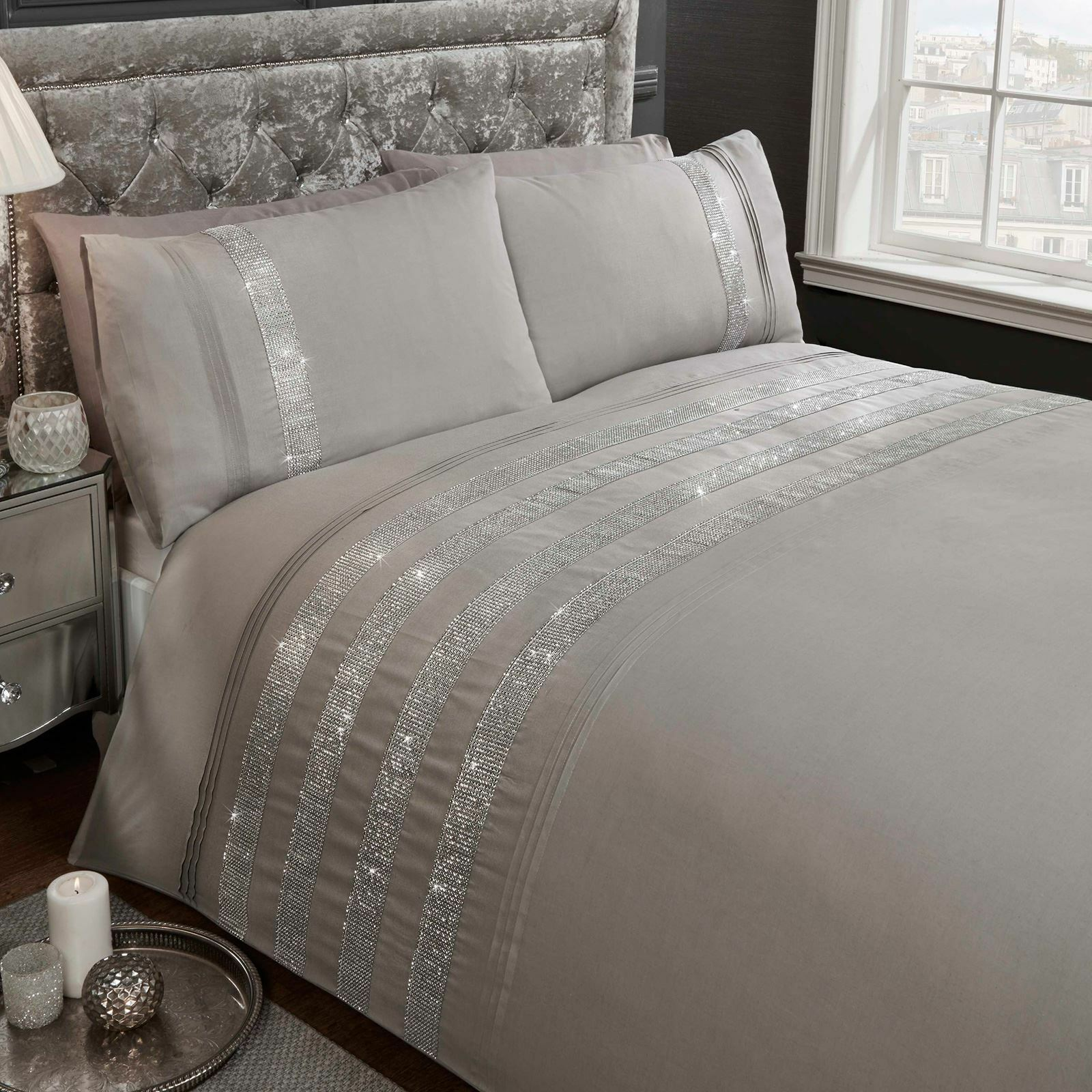 CARLY DIAMANTE GREY KING SIZE DUVET COVER AND PILLOWCASE SET ADULT BEDDING SET