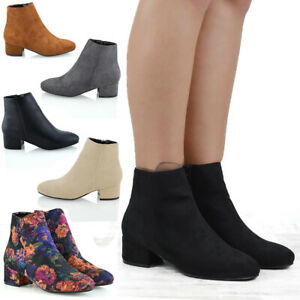 Mujeres-Plano-Tacon-Chelsea-Senoras-Shorty-inteligente-Pixie-Cremallera-Tobillo-Botas-Zapatos