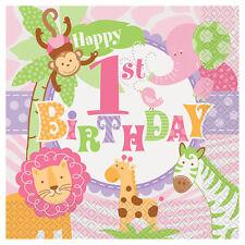 1st BIRTHDAY Pink Safari LUNCH NAPKINS (20) ~ Party Supplies Serviettes Giraffe