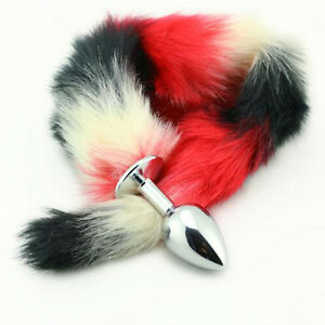 Large-Metal-Multi-Color-Fur-Fox-Tail-Anal-Bead-Plug-Masturbation-For-Couple-Game