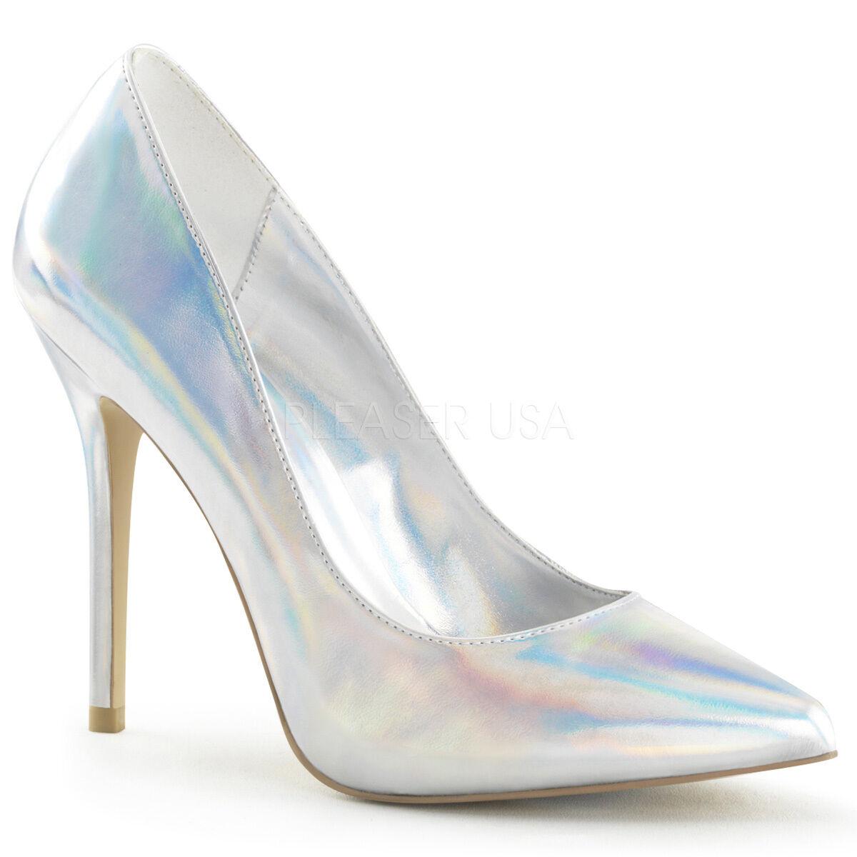 Pleaser 5  Spike Heel Hologram Classic Pointy Toe Hidden Platform Pumps 5-14