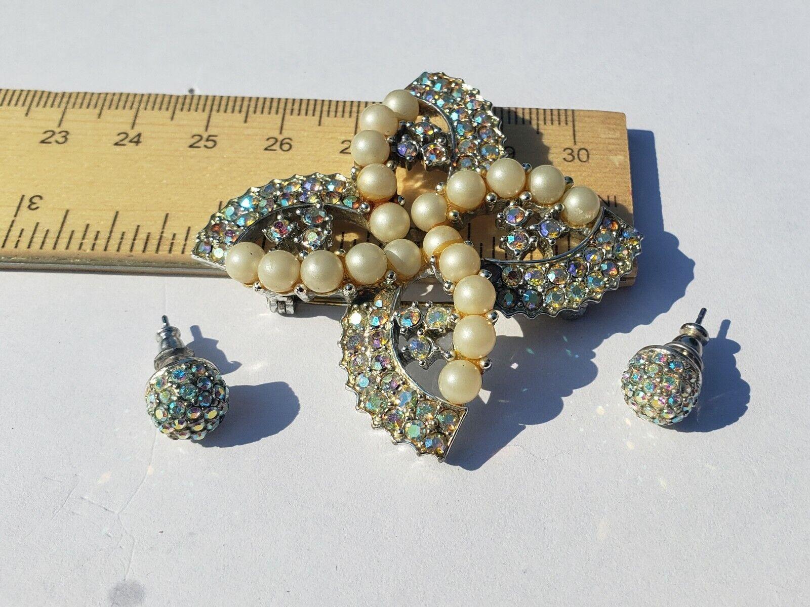 Monet Aurora Borealis Rhinestone Stud  Earrings w… - image 1