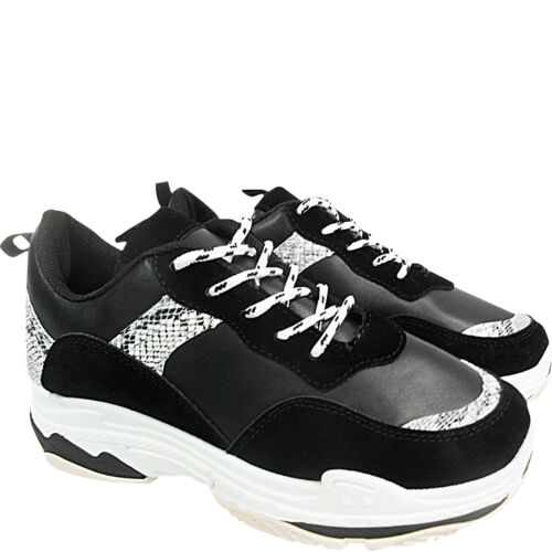 NEW WOMENS RETRO CHUNKY THICK SOLE LACE UP DAD TRAINERS SNEAKERS LOW WEDGE SIZE