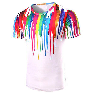 size L New with tag 3D Colorful Vertical Splash-Ink Print T-Shirt For Men