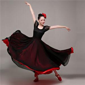 Women-039-s-Satin-Chiffon-Layer-Dance-Skirt-720-degrees-Spanish-Flamenco-Dancewear