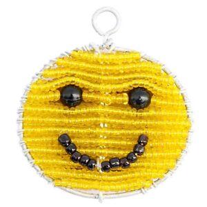 beadworx-SUNNY-Smiley-Face-Portachiavi-Perlina-LAVORO-ERBA-RADICI-di-vetro