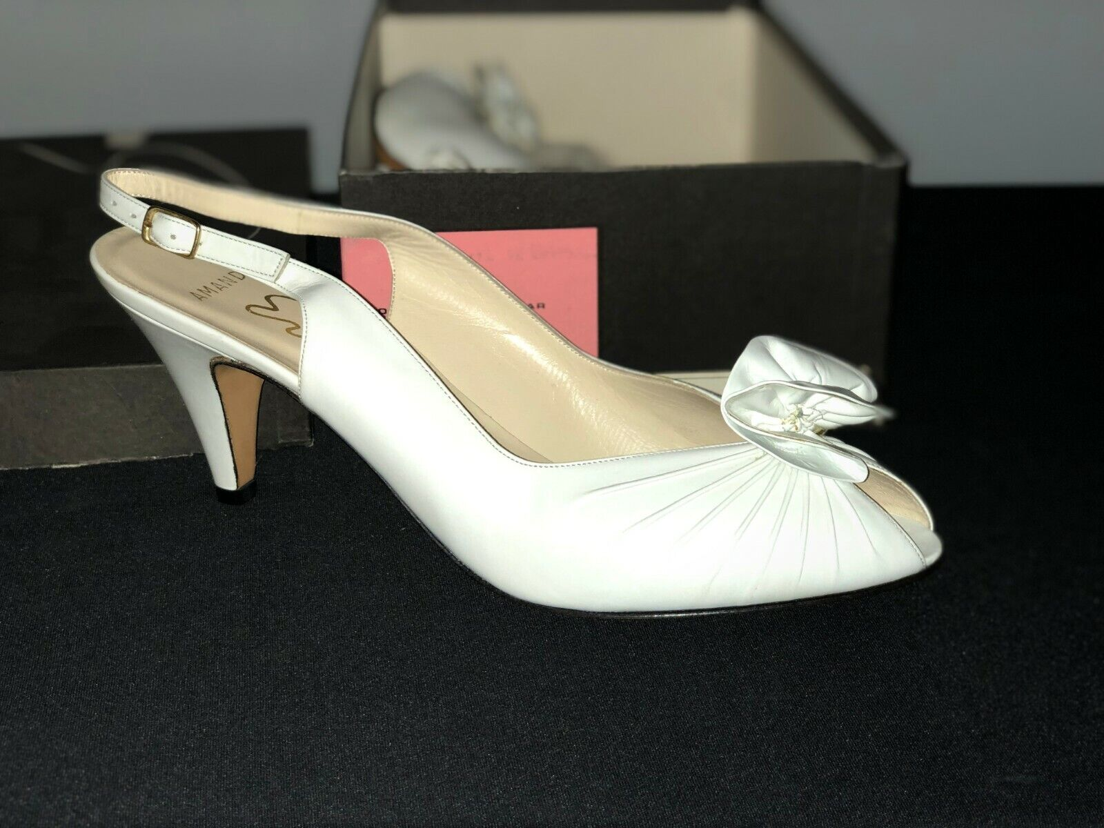 Evins AhommeDA en cuir blanc bout ouvert Taille 9.5AA
