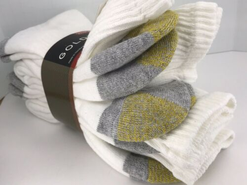 Men/'s GoldToe White 80/% COTTON Thick Cushioned Crew Socks $36 MSRP 4 Pack