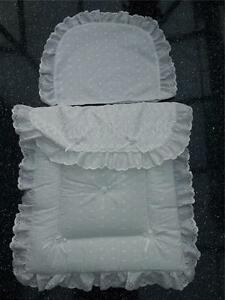Pram Canopy and Quilt Set  to fit Silver Cross pram in white  ROSEBUD DESIGN