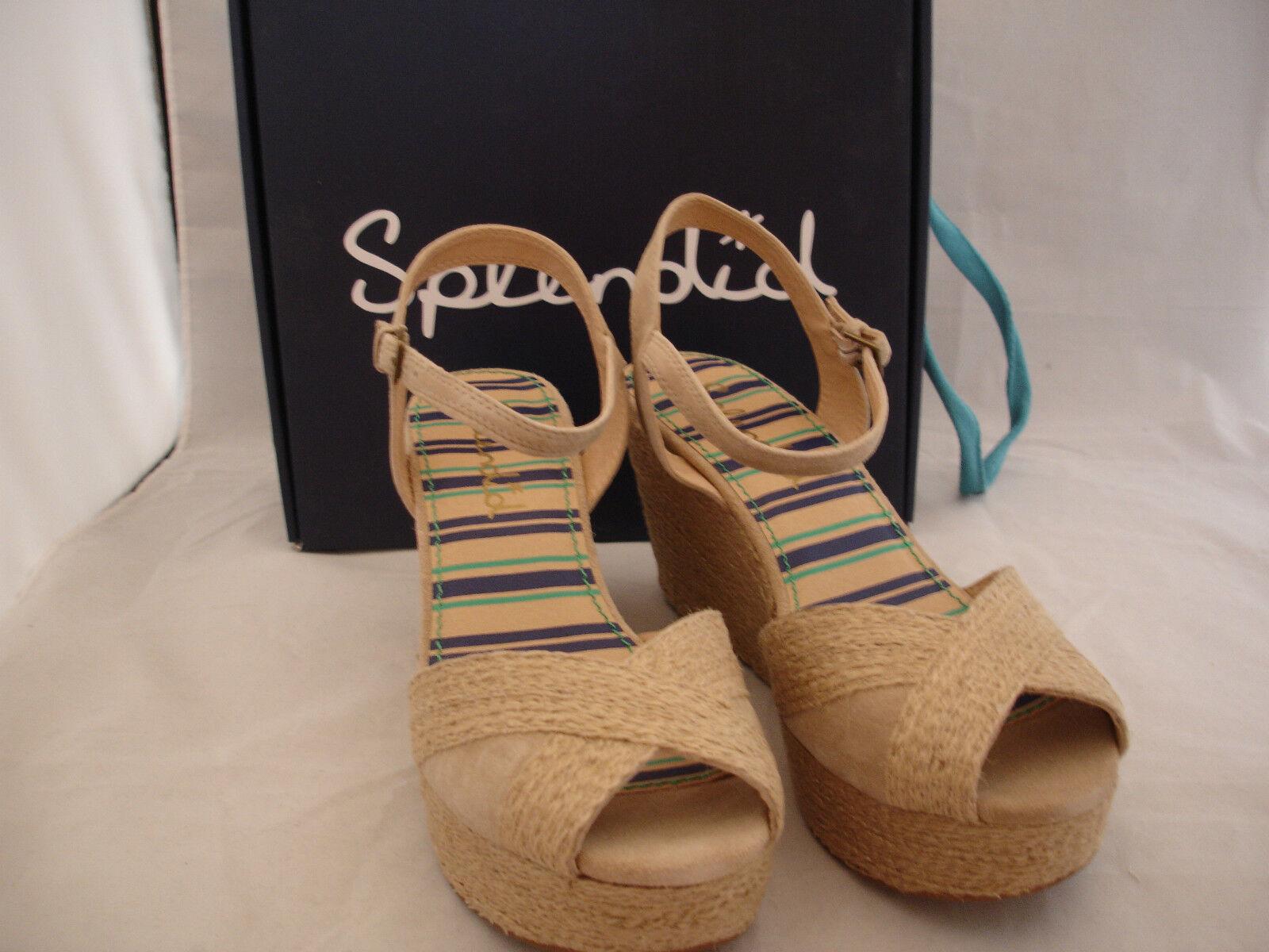 SPLENDID  Granite  Kid Suede Platform High Wedge Beige Womens Sz 9.5 New In Box