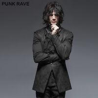 Punk Rave Mens VTG Black Damask Waistcoat Vest Victorian Steampunk Gothic
