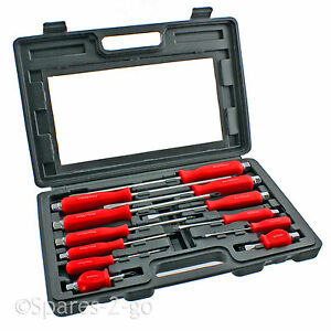 12 Piece Mechanics Screwdriver Box Set Heavy Duty Engineers Hex Bolsters + Case