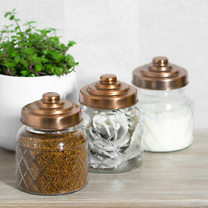 glass canisters for kitchen 3 x glass storage jars copper lids tea coffee sugar 17876