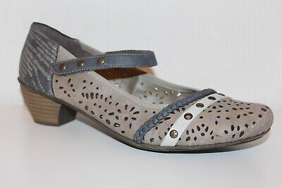 Dedito Rieker Antistress Scarpe Mary Janes Pumps 40 Uk7 Shoes Taupe Cinturino Scarpe Grigio-mostra Il Titolo Originale