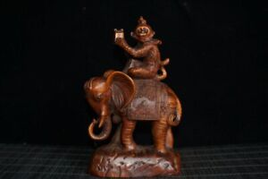 5-1-034-Chinese-Box-wood-Hand-Carved-Fengshui-12-Zodiac-Monkey-Elephant-Statue
