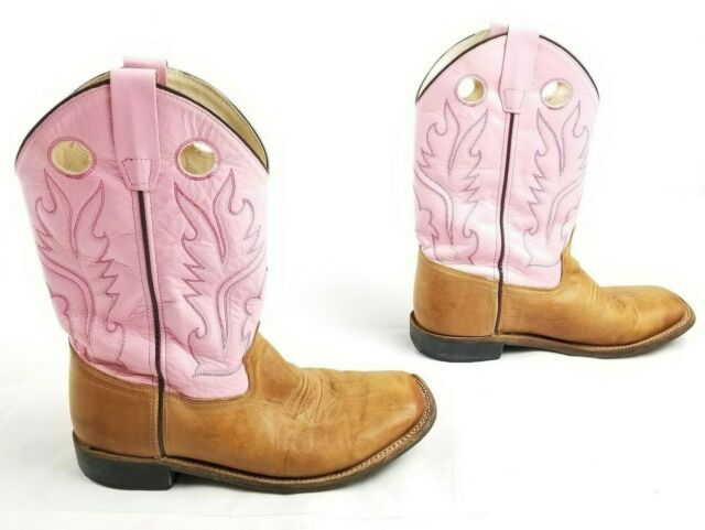 82700ad72f3 Old West Girls Youth 6 BSY1839 Brown Pink Leather Square Toe Cowboy BOOTS  Ropers