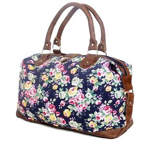 Image is loading Ladies-Canvas-Overnight-Travel-Bag-Womens-Weekend-Floral- 5c2abd8d8