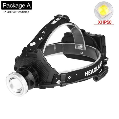 200000LM XHP70 XHP50 LED Headlamp Headlight USB Rechargeable Zoom Torch 18650