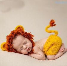 Neugeborene Baby Knit Strick Fotoshooting Kostüm Löwe Lion Mütze Höschen