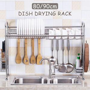 Dish Drying Rack Organizer Kitchen Draining Over Sink Stainless Steel 80/90CM