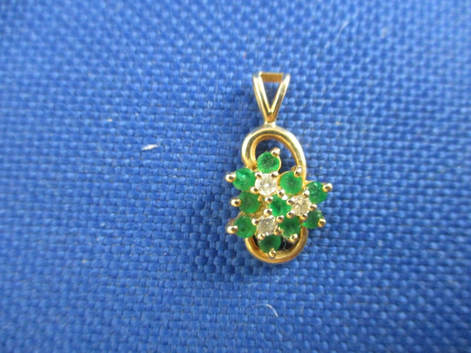 VINTAGE 14K YELLOW gold EMERALD AND DIAMOND PENDENT