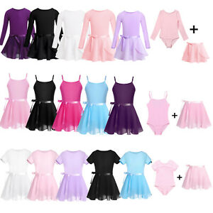 Girls-Kids-Ballet-Dance-Dress-Gymnastics-Leotard-Tutu-Skirt-Dance-Wear-Costume