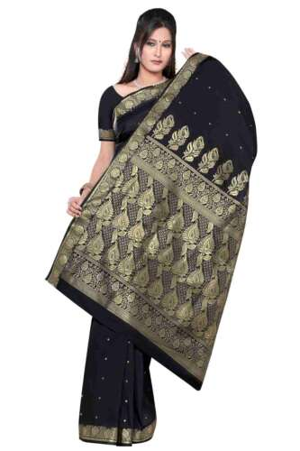 Saree//Bellydance Fabric India Benares Art Silk Sari Black