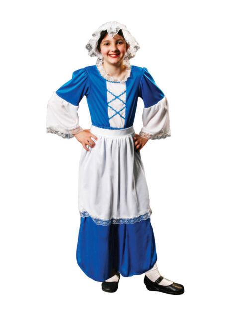 Tudor Girl Kids Book Week Fancy Dress Maids Costume Ages 4-12